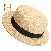 Mùa Hè Nữ Tự Nhiên Cứng Rơm Lúa Mì Boater Fedora Đầu Phẳng Nón Nữ Đi Biển Phẳng Vành Nón Đỏ Navy Sọc ruy Băng RH