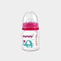 Bình sữa thủy tinh cổ rộng chống sặc, chống đầy hơi cho bé Mamamy 120ml [MẪU MỚI]