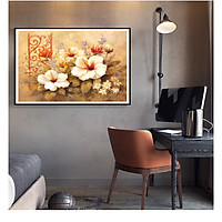 Tranh Canvas Sơn dầu Hoa Cúc tần cao cấp. (Bộ 1 bức), Khung hợp nhôm chống ẩm, bền, đẹp, nhiều kích thước. Phù hợp nhiều không gian sang trọng.