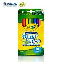 Bộ 10 màu bút lông nét mảnh - nét đậm có thể rửa được Crayola Supertips Washable Marker