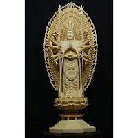 Tượng Bồ Tát Thiên Thủ Thiên Nhãn Đứng- Gỗ Hoàng Dương kích thước 14,5x14,5x42cm (DxRxC)