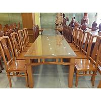 Bộ bàn ăn gõ đỏ khổng minh 8 ghế bàn vuông