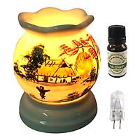 Combo tinh dầu sả chanh Eco oil 10ml cùng đèn xông tinh dầu MNB04 và 1 bóng đèn