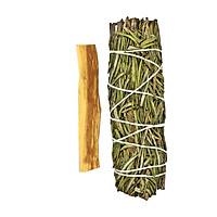Combo 1 bó hương thảo và 1 thanh palo santo - gỗ trắc xanh5-6gr (Combo07)