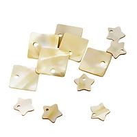 12x Flat Shell Charms Beads Square + Pentagram fit Jewelry Pendant Bracelet