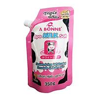 Muối Tắm Sữa Bò Tẩy Tế Bào Chết A Bonne Spa Milk Salt Nhập Khẩu Từ Thái Lan (350gram/Gói Có Vòi), Hạt Mịn Thơm Mùi Sữa, Giúp Làm Sạch Và Làn Da Mịn Màng