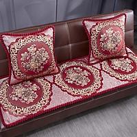 Nệm ghế thảm ghế 1m8 x 60cm mẫu hoàng gia đỏ