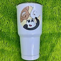 Ly giữ nhiệt Thái Lan 900 ml 2 lớp inox 304 _ tặng 1 túi +2 ống hút inox + 1 cọ rửa ống hút _3 con gấu trắng
