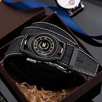 MashaLanti men's belt crocodile pattern top layer cowhide belt men's business casual automatic buckle belt men's PD120 gun color (110-130CM)