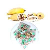 Chuối cuộn đậu phộng Tư Bông cao cấp 350g - ít ngọt mềm xốp với hương vị truyền thống chánh gốc Đồng Tháp