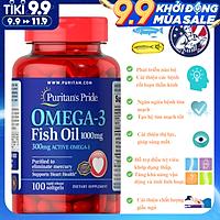 Omega-3 Puritan's Pride Hỗ Trợ Sáng Mắt, Bổ Trí Não, Tim Mạch, Xương Khớp - Fish Oil 1000mg Chiết Xuất Từ Nguồn Cá Sạch Với Quy Trình Sản Xuất Nghiêm Ngặt - Hộp 100 Viên, Dùng Cho Cả Nam Và Nữ