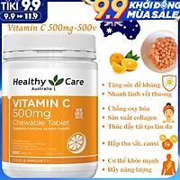 Vitamin C 500mg Chewable Tablet Chính Hãng Healthy Care Giúp Tăng Sức Đề Kháng, Sản Xuất Collagen, Nhanh Lành Vết Thương, Chống Oxy Hóa, Ngăn Ngừa Ung Thư, Hỗ Trợ Hấp Thụ Sắt – Hộp 500 Viên