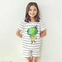 Bộ đồ ngắn tay mặc nhà cotton mịn cho bé gái U3035 - Unifriend Hàn Quốc, Cotton Organic