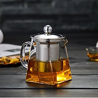High-grade Blown Glass Tea Coffee Set Resistant Bottle Cup With Infuser Tea Leaf Herbal of Borosilicate Square Teapot