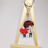 Móc chìa khóa hình nhân vật K-POP BTS Bulletproof  Acrylic Anime Keychain