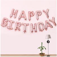 Bộ 13 bong bóng chữ HAPPY BIRTHDAY nhôm kiếng bạc nhiều màu