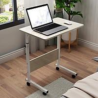 Bàn làm việc đi động hai chân có bánh xe màu vân gỗ - kích thước mặt bàn 60x40cm