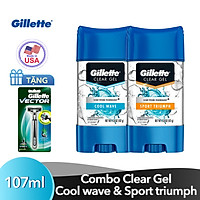 Tặng Dao Cạo Râu Gillette Vector 3 Khi Mua Gel Khử Mùi Gillette Clear Gel Sport Triumph 107Ml + Gel Khử Mùi Gillette Clear Gel Cool Wave 107Ml