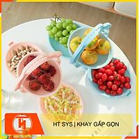Khay đĩa mứt gấp gọn để bàn HT SYS - Tích hợp 3 đĩa đựng hoa quả, bánh kẹo, mứt tết - Chất liệu nhựa ABS cao cấp - Giao màu ngẫu nhiên