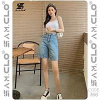 Quần bò đùi denim short Jeans nữ SAM CLO dáng suông ulzzang ống rộng lưng ôm cạp cao màu trơn CODE 368