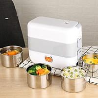 Hộp cơm điện nấu chín và giữ nhiệt đồ ăn, thiết kế 4 ngăn inox kiểu dáng hình chữ nhật nhỏ gọn cho nhân viên văn phòng