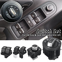 5pcs/Set Fuel Headlight Mirror Window Switches LED Display For VW Eos Golf R32 GTI MK5 6 WILLKEY