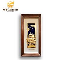Tranh thuyền thuận buồm xuôi gió dát vàng (55x110cm) MT Gold Art- Hàng chính hãng, trang trí nhà cửa, phòng làm việc, quà tặng sếp, đối tác, khách hàng, tân gia, khai trương