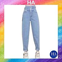 Quần Baggy Jean Nữ Lưng Cao H&A Fashion 3 Nút Lưng Kiểu TBQBG19