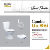 Combo sản phẩm bàn cầu+lavabo+vòi xịt - CT1325+L2140+BS304A
