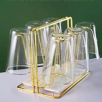 Giá úp cốc, ly mạ vàng sang trọng GS1022, kèm khay hứng nước