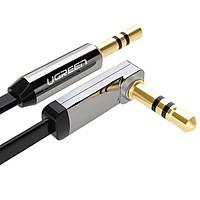 Dây Audio 3.5mm dẹt,mạ vàng 1 đầu vuông 90, TPE dài 1m UGREEN AV119 10597 - Hàng Chính Hãng.