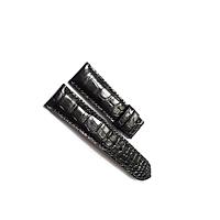 Dây đồng hồ da cá sấu cao cấp 2 mặt (Màu đen) - size 24