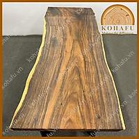 Mặt bàn gỗ me tây nguyên tấm vân nhuyễn, mặt bàn ăn gia đình  dài 205 x rộng (77-75-77) x dày 4 (cm)