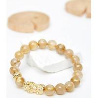 Vòng tay đá thạch anh tóc vàng phối tỳ hưu bạc mạ vàng 24K 8mm mệnh thủy, kim - Ngọc Quý Gemstones