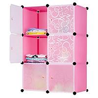 Tủ nhựa ghép 6 ngăn - Thân hồng phấn cửa trắng trong 110x74x47cm