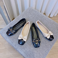 Giày bệt búp bê nữ đính nơ xinh xắn da mềm êm chân - B15