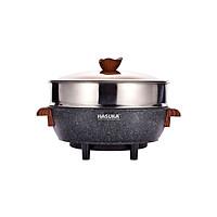 NỒI LẨU ĐIỆN ĐA NĂNG Hasuka HSK355 - Dung tích 5.5L, Lòng Ceramic, Vung kính chịu nhiệt, Xửng hấp Inox lớn - Hàng chính hãng