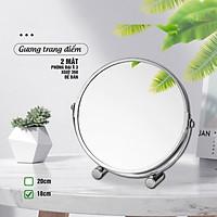Gương trang điểm phóng đại 3 lần, xoay 360 độ, 2 mặt siêu nét, để bàn, Inox 304, Size 18cm, 20cm, Minh House G31