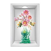 Tranh dán tường ô 3D lọ hoa đẹp 009 KT 40 x 60 cm