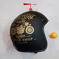 Mũ Bảo Hiểm Đẹp 3/4 Đầu Tem cafe xe đen kèm chong chong thần kỳ + Tặng kèm thú nhún Emoji Siêu cute