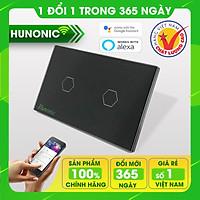 Công tắc thông minh Hunonic 2 nút hỗ trợ Google Assistant . Công tắc cảm ứng WIFI kính cường lực- Công tắc điện 2 màu đen trắng | Hàng Việt Nam Chất Lượng Cao- BH 12 tháng