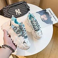 FREE SHIP Giày thể thao nữ , giày sneaker nữ độn đế 5cm nhũ lấp lánh phối lưới đế sóng hàng cao cấp cực đẹp và êm chân