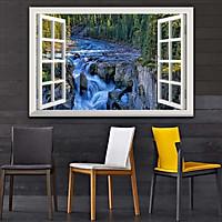 Bức tranh dán tường cửa sổ THÁC NƯỚC in giấy ảnh với 2 lựa chọn bề mặt cán PVC gương hoặc cán bóng, mã số: 00402191L11