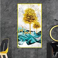 Tranh Treo Tường Tráng Gương PVC-HD Họa Tiết Hươu Nai Phong Thủy Mang Tài Lộc, May Mắn, Thịnh Vượng Kích Thước 40 x 80 cm