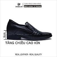 Giày tây công sở Shoes 2H  tăng chiều cao da bò thật 2H - 78 Đen