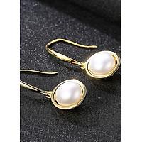 Bông tai bạc thật xi vàng 2 màu ngọc trai S925 B2370-Bảo Ngọc Jewelry