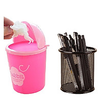 Combo Giỏ Đựng Bút Lưới Sắt Đa Năng + Thùng rác mini để bàn Văn Phòng dễ thương tiện lợi( Màu ngẫu nhiên)