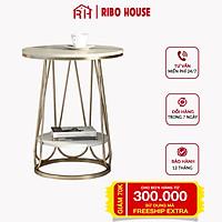 Bàn trà sofa RIBO HOUSE khung kim loại sơn tĩnh điện mặt đá 100% decor trang trí phòng khách ban công phòng ngủ RIBO175
