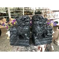 Cặp Kỳ Lân phong thủy quay đầu đá cẩm thạch vân đen - Cao 25 cm