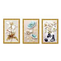 Decal dán tường bộ 3 khung tranh hoa lá đẹp Tipo_0129